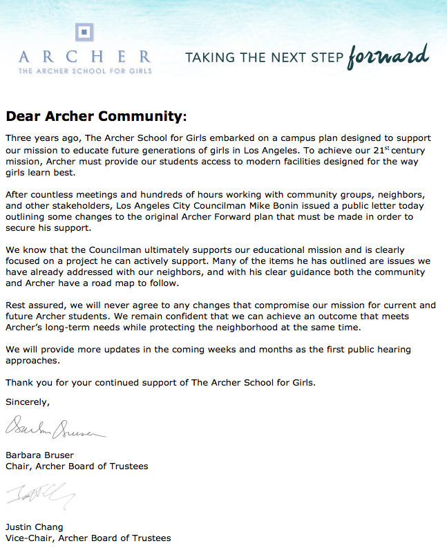 Archer Response Letter